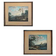 Pair of 18th Century Old Master Landscape with Figures Gouache Paintings Signed J. Burgi - 18th Century, Vorderösterreich (Further Austria)