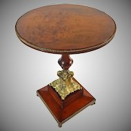 French Wood and Bronze Pedestal Gueridon Small Round Occasional / Side Table - c. 19th Century, France