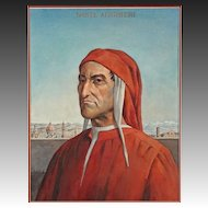 Watercolour Portrait Painting of Florentine Poet Dante - 20th Century, USA