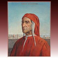 Watercolour Portrait Painting of Florentine Poet Dante - 20th Century, USA