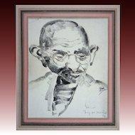 Mahatma Ghandi Black Charcoal Portrait Drawing Signed - 20th Century