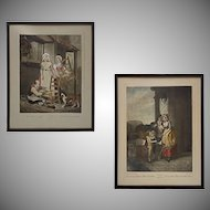 Pair Antique Color Engravings from series ' Cries of London ' of Street Sellers Plates 8 and 10 - 19th Century, England
