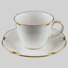 Royal Crown Derby Regency Tea Cup and Saucer Porcelain White Gilt - 20th C., England