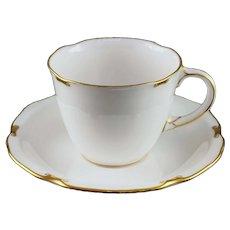 Royal Crown Derby Regency Tea Cup and Saucer Porcelain White Gilt - 20th C., England