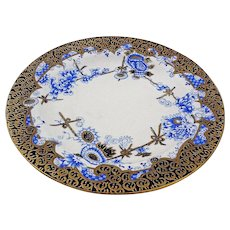Antique Royal Crown Derby Cup and Plate Porcelain Melton Pattern Blue White Gilt - Rd N° year 1887, England