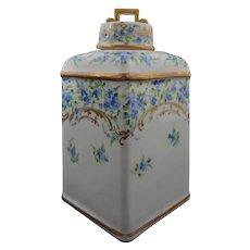 Richard Klemm Tea Caddy Dresden Porcelain Cornflowers - 1889 to 1916, Germany