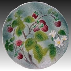 French Majolica St. Clement Compote Pedestal Plate Raspberries - France