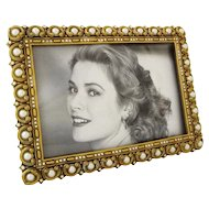 Berebi Jewelled 6x4 Picture Frame Pearl Bead Swarovsky Crystals Gold Plated Easel Back Limited Edition - USA