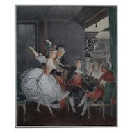 French Color Engraving La Petite Loge [The Opera Box] after Moreau the Younger