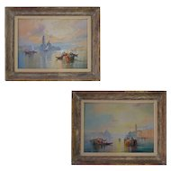 PAIR Venice Paintings Watercolors Signed W. Knox Large Framed - c. 1920, England