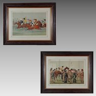 Pair of Sporting Horse Racing / Steeple Chase Color Lithographs Framed - 1885 & 1888, England