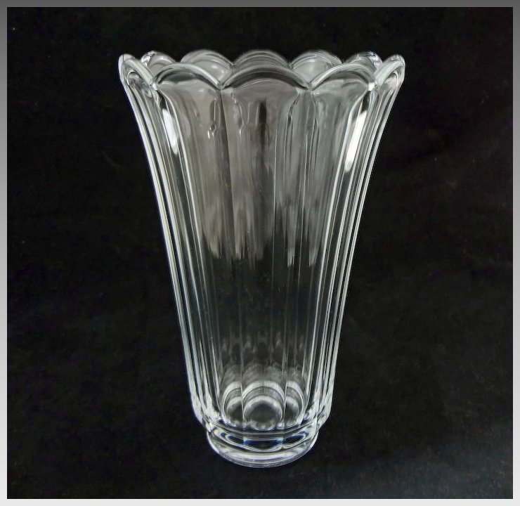 Val St Lambert Clear Crystal Vase Scalloped Floriform Modern 20th