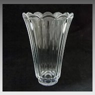 Val St. Lambert Clear Crystal Vase Scalloped Floriform Modern- 20th Century, Belgium