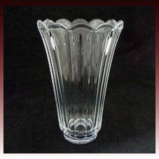 Val St. Lambert Clear Crystal Vase Scalloped Floriform Modern- 20th Century, Belgium