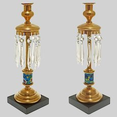 Pair Longwy French Faience Brass Candlesticks Crystal Prisms France