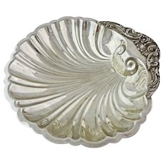 Large Shell Shaped Footed Bowl Silver Plate on Copper