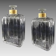 Pair French Dresser / Cologne Crystal Bottles .950 Silver French Minerva Mark Collars - after 1838, France
