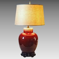 Chinese Red Sang de Boeuf / Oxblood / Flambe Glazed Pottery Lamp Carved Rosewood Base
