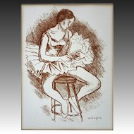 Seated Ballerina Lithograph Russian born Moses Soyer with Authentication - 20th Century, USA