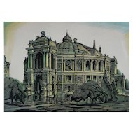 Odessa Opera House Architectural Linocut Print Signed Numbered Limited Edition  - c.1939, Ukraine Soviet Republic