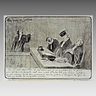French Satirical Lithograph Honoré Daumier Les Gens de Justice Plate 11 France
