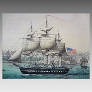 Lebreton New York Panoramic View Lithograph from Ellis Island French Color - c. 1850, France