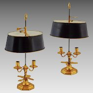 Pair Bouillotte Two Light Candle Stand / Lamps Gilt Bronze and Black Tole Shades