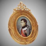 Napoleon Bonaparte Large Oval Miniature Portrait in French Gilt Bronze Ormolu Frame - 19th Century, France