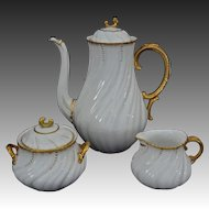 Early Tea Set Sarreguemines Louis XV White Gilt Porcelain Tea Pot, Cream and Sugar Bowl - c. 1900's, France