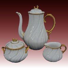 Early Tea Set Sarreguemines Louis XV White Gilt Porcelain Tea Pot, Cream and Sugar Bowl - c. 1900's, France