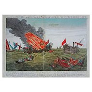 American War of Independence Naval Battle Quebec & Surveillante Engraving Liezelt after Paton - c. 1780, Augsburg, Germany