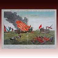 American War of Independence Naval Battle Quebec & Surveillante Engraving Liezelt after Paton - c. 1780, Augsburg, Germany