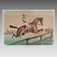 Equestrian Lithograph Steeplechase Race Winner Astrolabe 1866 Vincennes Hippodrome Grand Handicap - 19th Century, France