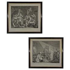 Pair Hogarth's Prison and Madhouse Scenes from Rake's Progress Series Engravings Framed- 19th Century, England - Red Tag Sale Item