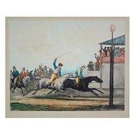 French Horse Race Color Engraving L'Arrivée after Vernet by Jazet