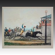 French Horse Race Color Engraving L'Arrivée after Vernet by Jazet