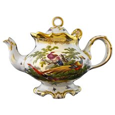 Rococo Style Fancy Porcelain Teapot Hand Painted Pheasant Game and Domestic Birds Rooster