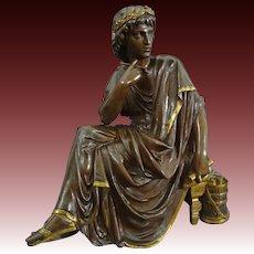 Bronze Sculpture Virgil Roman Poet as a Young Man signed L. Pilet - c.19th/20th Century, France
