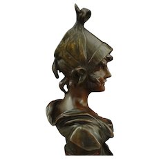 Art Nouveau Petit Bronze Bust Sculpture signed van der Straeten - c. 1900's, France - Red Tag Sale Item