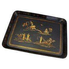 Antique Large Chinoiserie Papier Mache Tray Black Gilt - c. 19th Century, England