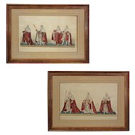 Pair Ceremonial Aquatint Etchings of the Coronation of King George IV - c. 1825, England