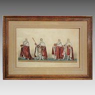 Ceremonial Aquatint Etching Coronation of King George IV - c. 1825, England
