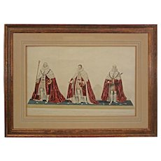 Ceremonial Aquatint Etching Coronation of King George IV - c. 1825, England
