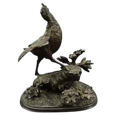 French Bronze Young Game Bird on a Rock after Ferdinand Pautrot - 19th Century, France