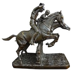 Equestrian Steeplechase Horse Bronze Sculpture after Isidore Bonheur - c. 19th Century, France