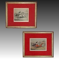 Alken Original Drawing and Matching Etching Horse Races - c. 1830's, England