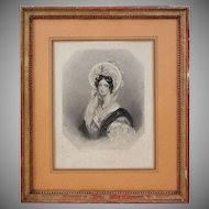 English Peerage Lady Female Nobility Aristocratic Portrait Engraving Portrait Gilt Wood Frame - 1838, England