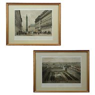 Pair Paris Lithographs Colonne de la Grande Armee and Palais Royal - c. 19th Century, France