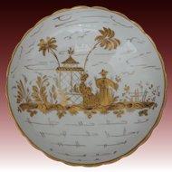 French Chinoiserie Porcelain Bowl Gilt on White - 20th Century, France