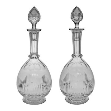 Pair Baccarat Antique Carafe / Decanter Matching Original Stoppers Numbered - c. 1908, France